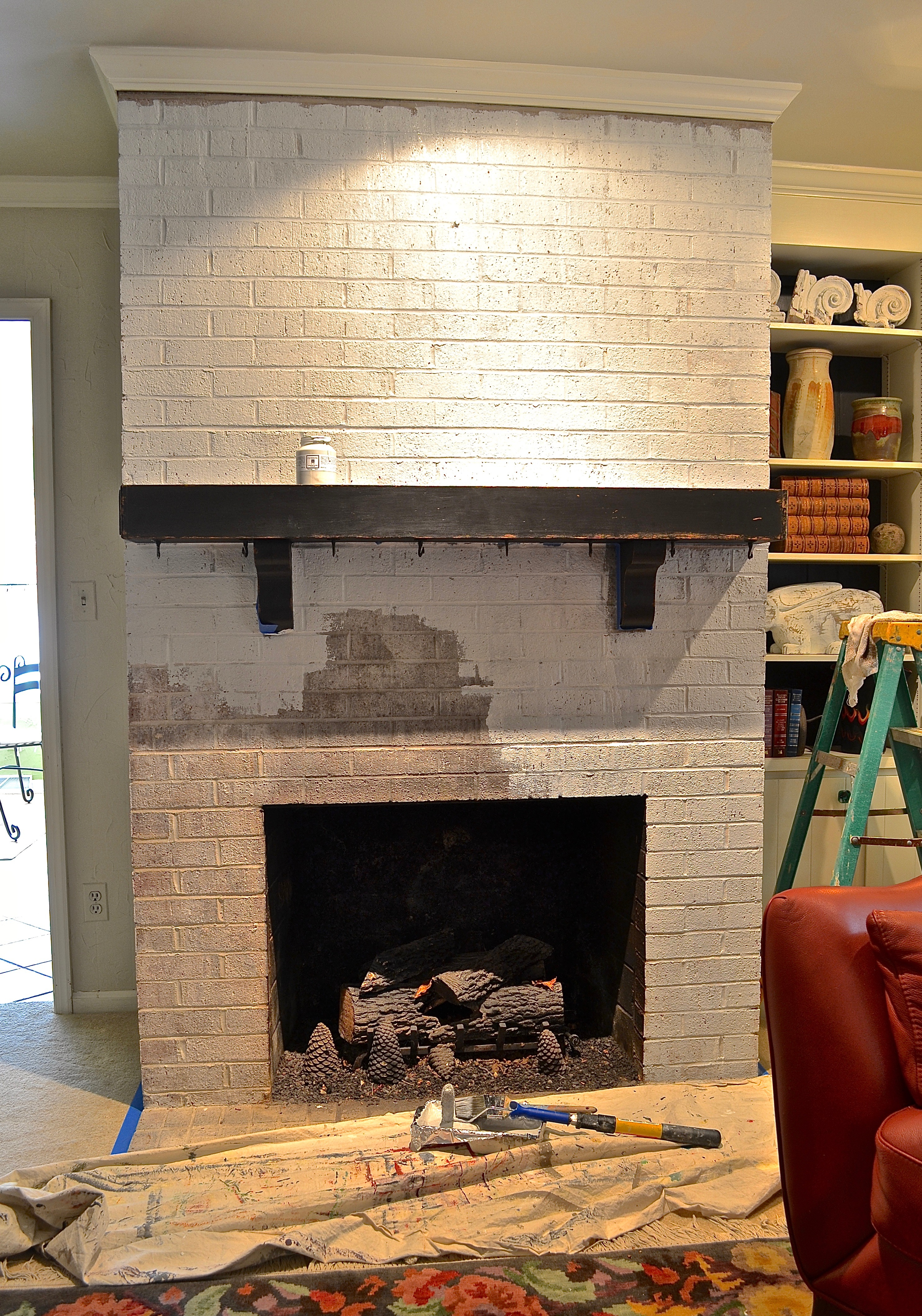 My Patch Of Blue Sky   How To Paint A Brick Fireplace And Mantel With Fusion Mineral Paint
