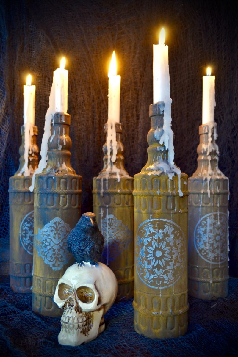 My Patch Of Blue Sky | Spooky Rusted Halloween Candles Project
