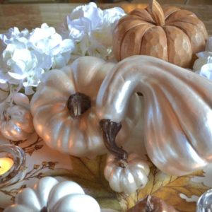 My Patch Of Blue Sky | Shimmery Thanksgiving Tablescape Gourds
