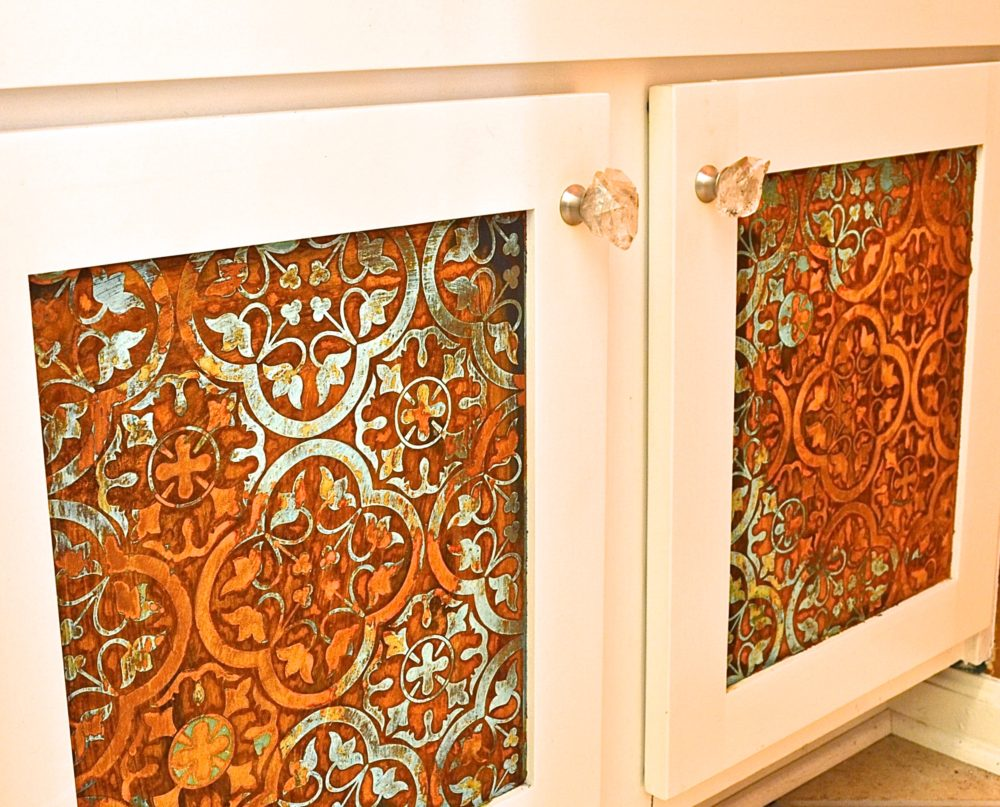 My Patch Of Blue Sky | How To Use Modern Masters Metal Effects Rust And Patina And A Royal Design Studio Custom Modello On Cabinet Doors