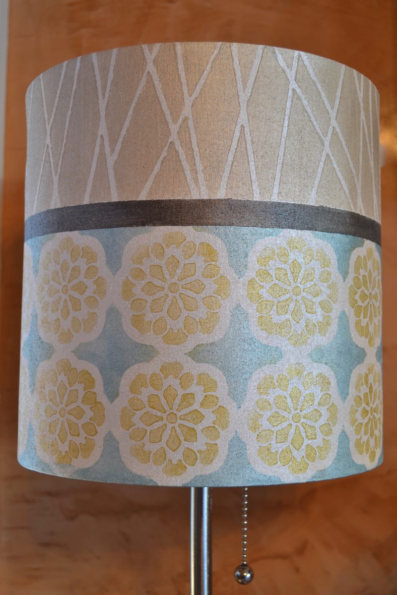 My Patch Of Blue Sky   Painted Fabric Lampshade