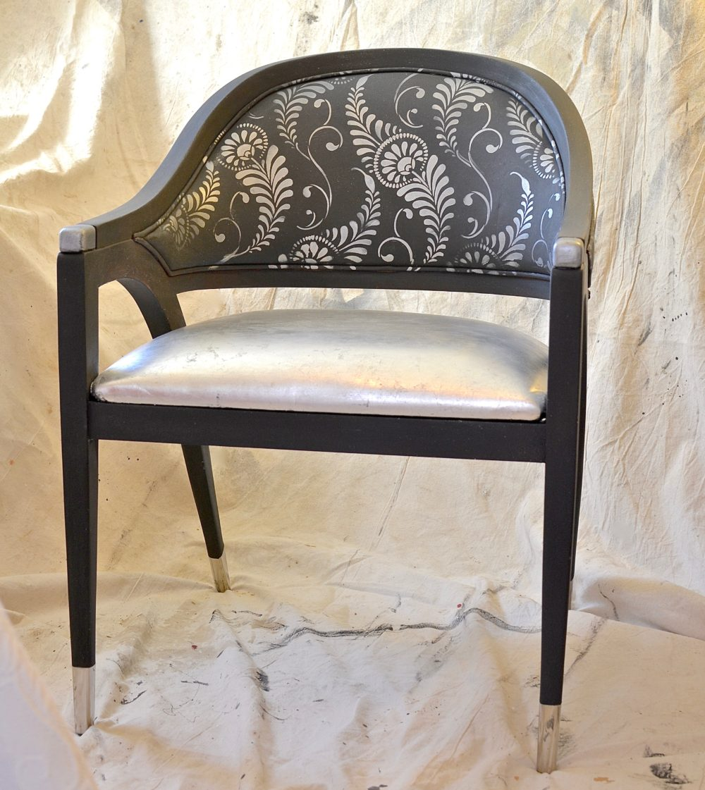 My Patch Of Blue Sky | How To Upcycle An Old Chair Using Paint, Silver Leaf, And A Royal Design Studio Stencil