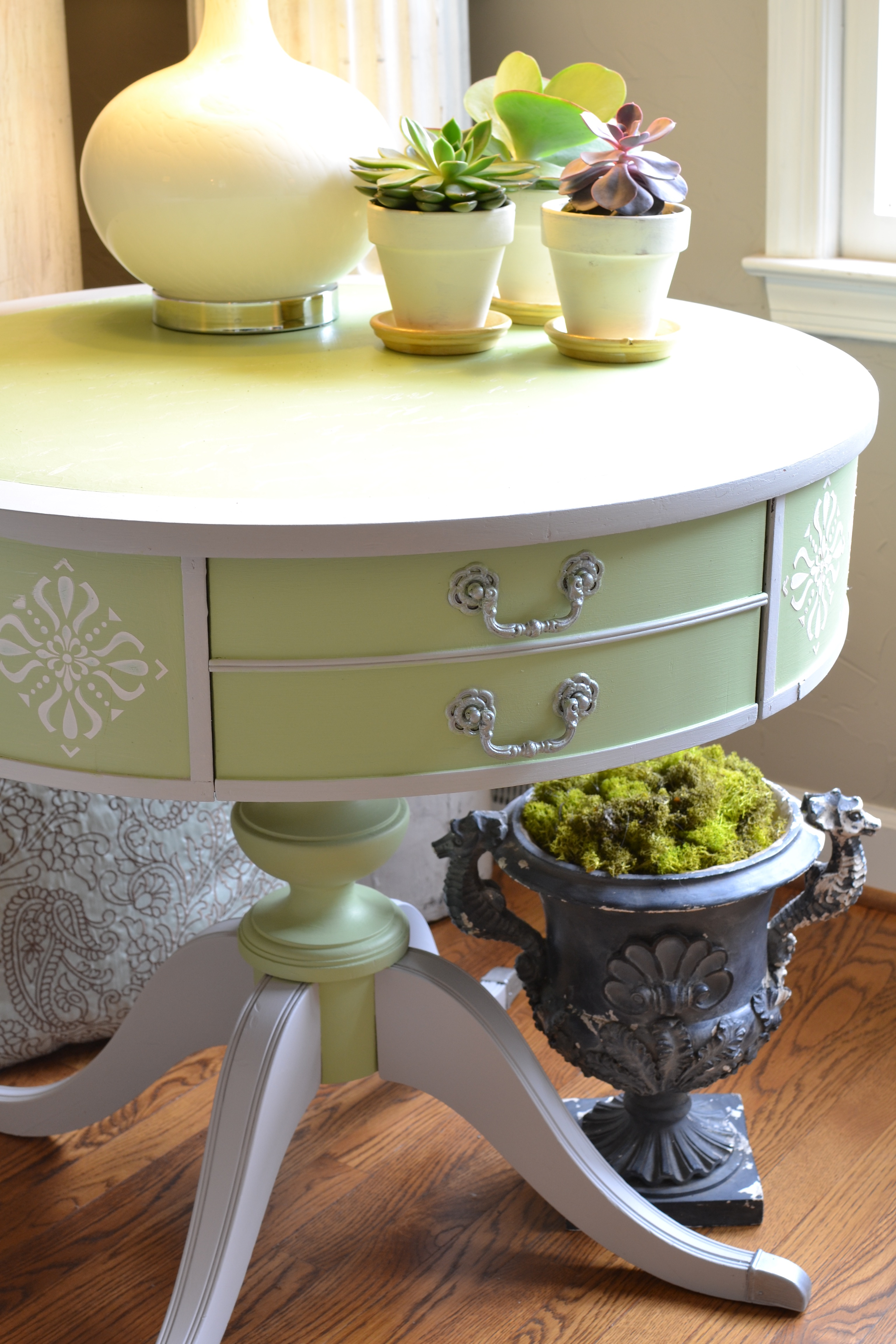 My Patch Of Blue Sky | Upcycle An Old Table Using Paint, Stenciling, And Texture