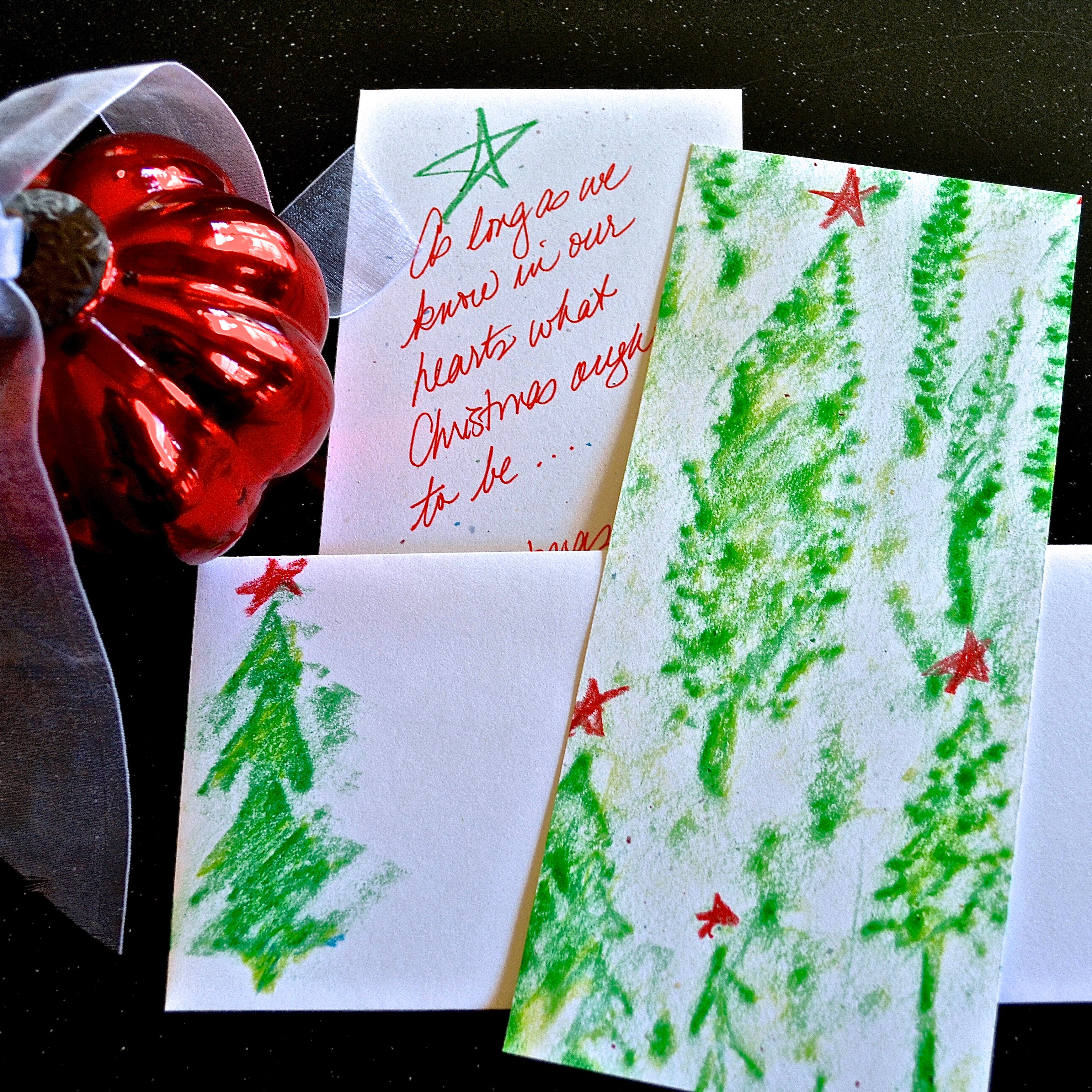 My Patch Of Blue Sky | How To Make Christmas Cards Using Wood Icing And Crayons