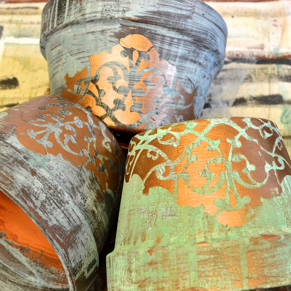 My Patch Of Blue Sky | How To Add Pattern And Patina To Outdoor Flower Pots Using Royal Design Studio Stencils