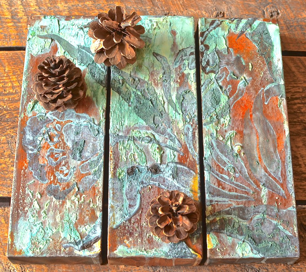 My Patch Of Blue Sky | How To Use Rust, Patina, And Wood Icing To Make Tree Little Canvases