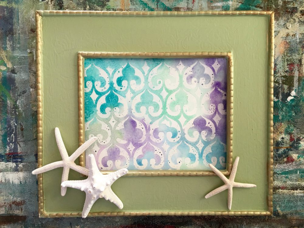 My Patch Of Blue Sky | How To Use A Royal Design Studio Stencil To Create Watercolor Art
