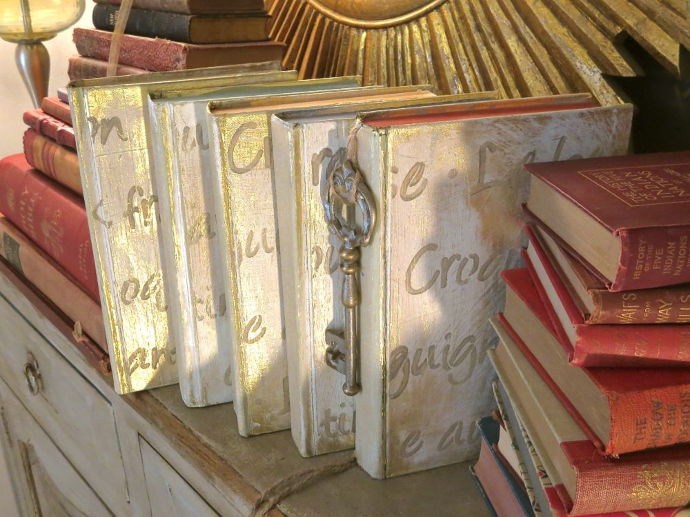 My Patch Of Blue Sky   How To Paint And Stencil Old Books Using Royal Design Studio Stencils
