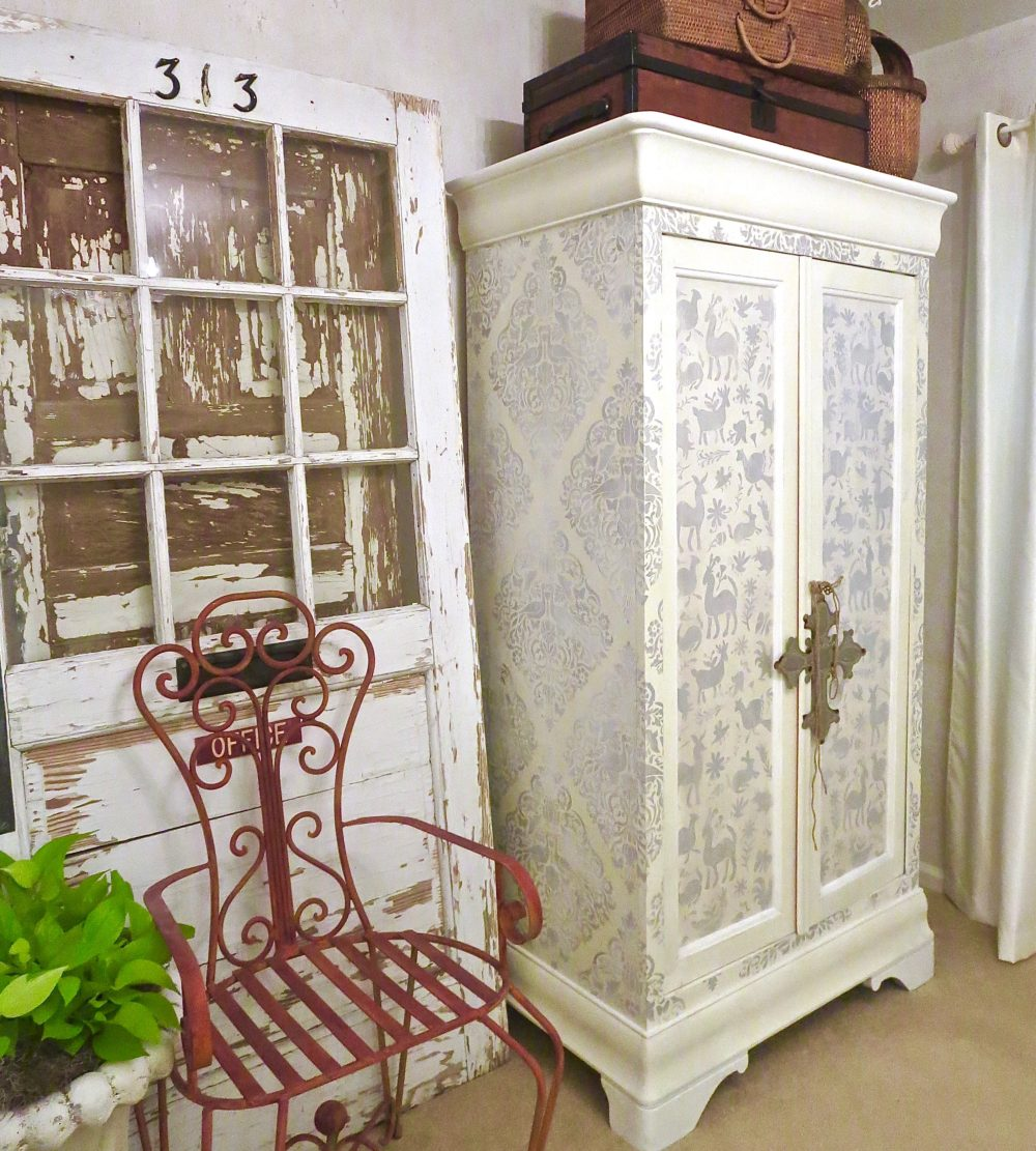 My Patch Of Blue Sky | How To Stencil A Large Cabinet Using Royal Design Studio Stencils
