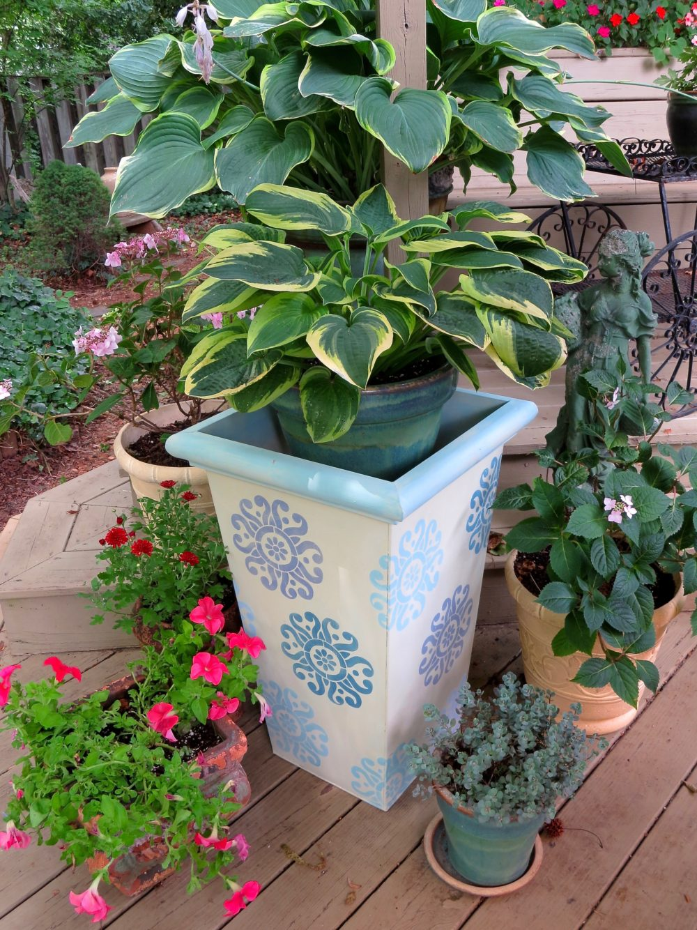 My Patch Of Blue Sky   How To Paint And Stencil Outdoor Flower Pots Using Royal Design Studio Stencils