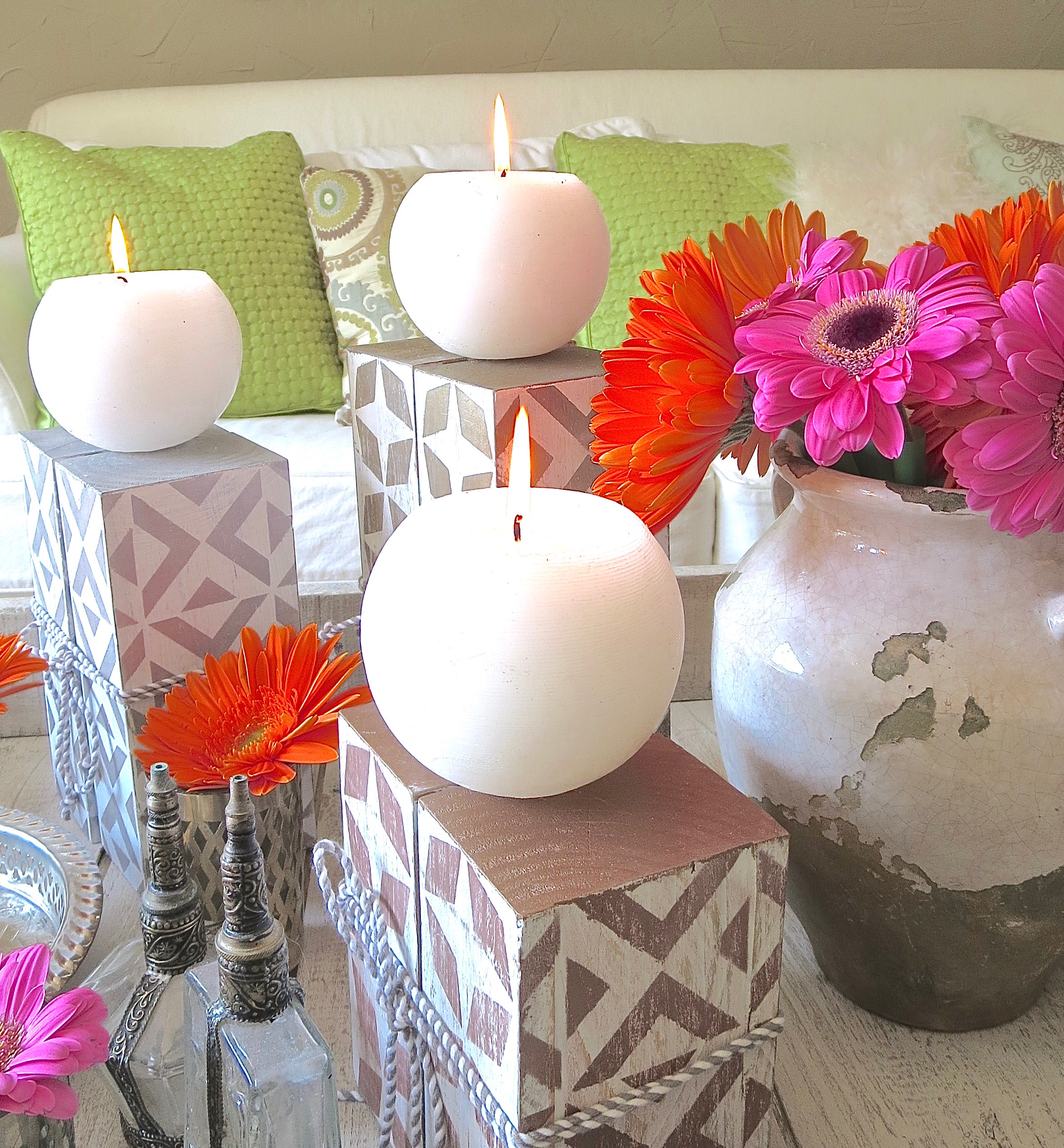 My Patch Of Blue Sky | How To Make Wood Candleholders Using Royal Design Studio Stencils