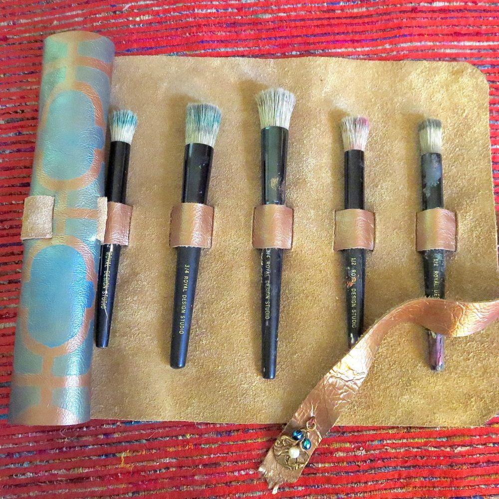 My Patch Of Blue Sky   How To Make A Leather Brush Holder Using Royal Design Studio Stencils