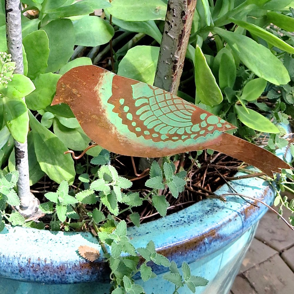 My Patch Of Blue Sky | How To Make Copper Outdoor Bird Accents Using Royal Design Studio Stencils