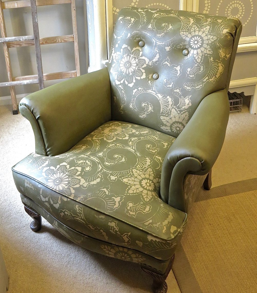 My Patch Of Blue Sky | How To Stencil An Old Leather Club Chair Using Royal Design Studios Stencils