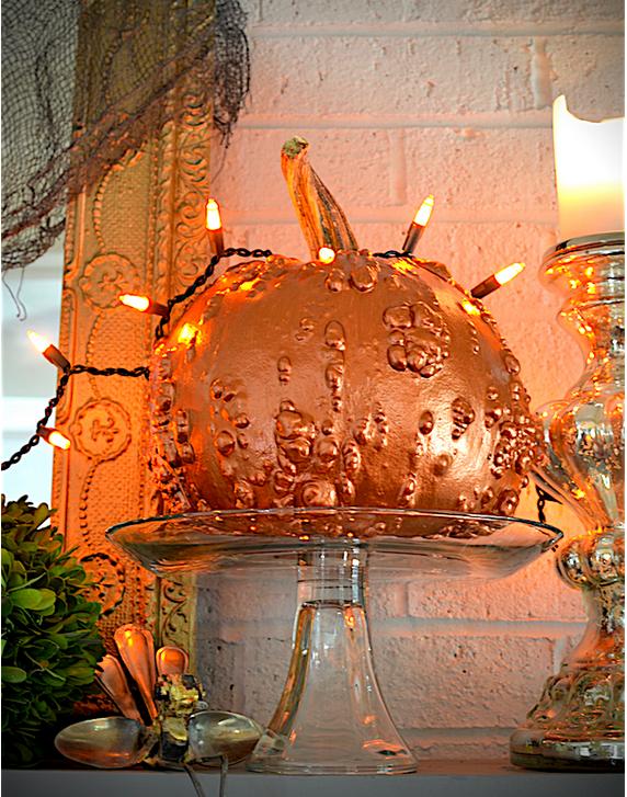My Patch Of Blue Sky   Glamorous Metallic Paint Halloween Pumpkins Project