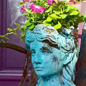 My Patch Of Blue Sky | Garden Décor Blue Patina Planter Project
