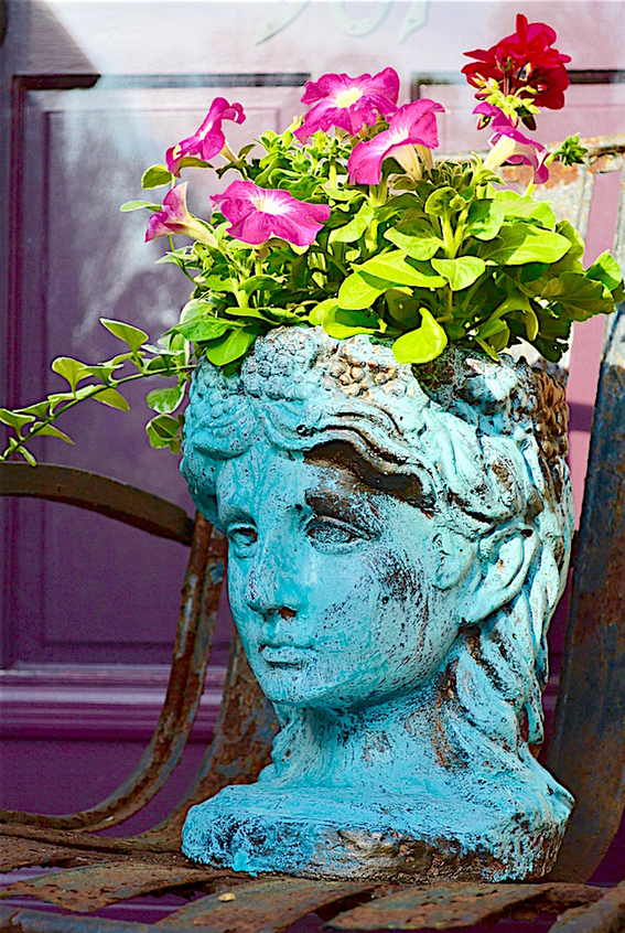 My Patch Of Blue Sky | Garden Décor Blue Patina Planter Project