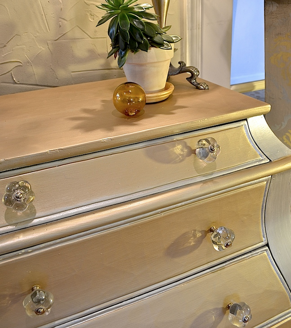 My Patch Of Blue Sky   Paint A Chest With Soft Silver And Gold Metallics Project