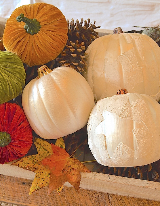 My Patch Of Blue Sky | How To Use Artisan Enhancements Texture Products And Real Leaves To Paint Halloween Pumpkins