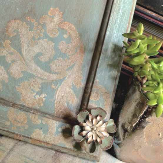 My Patch Of Blue Sky | How To Use Artisan Enhancements Texture Products And A Stencil On Cabinet Doors