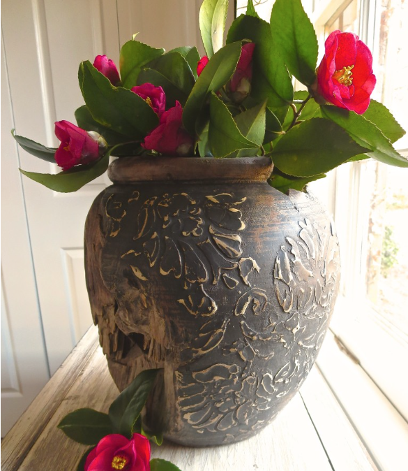 My Patch Of Blue Sky | Embellish A Wood Vase With Texture And A Stencil