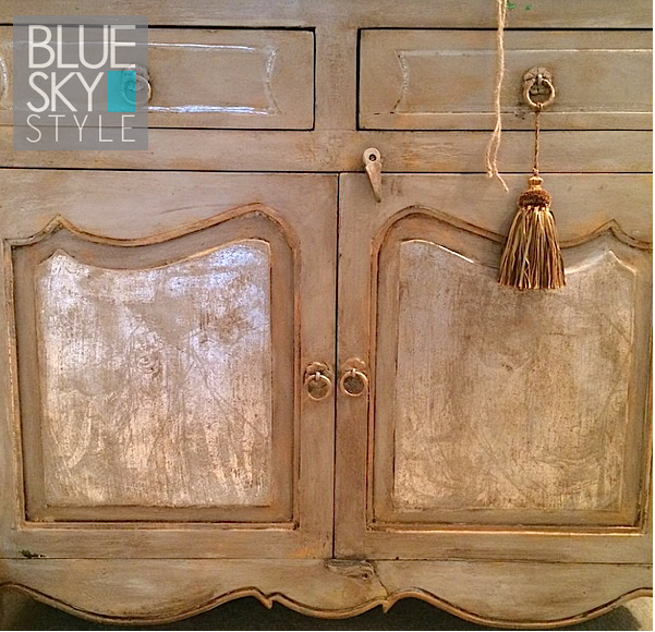 My Patch Of Blue Sky | How To Create A Torn Paint Silver And Gold Furniture Finish