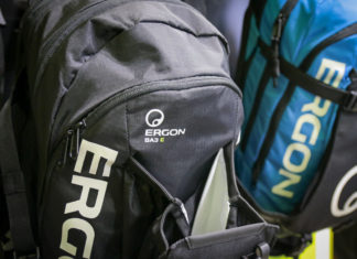 Ergon enduro mountain bike hydration backpack with extra e-bike battery storage compartment