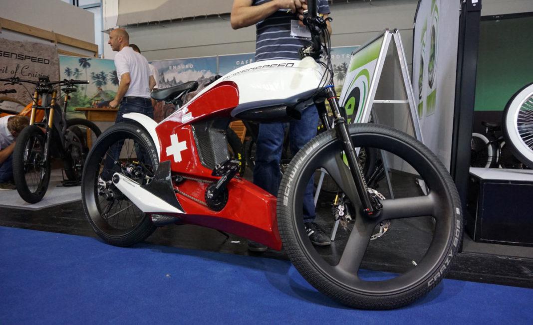 deusenspeed cafe racer e-bike-concept with street bike carbon fiber fairings