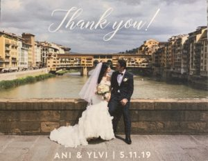 Dear Caitlin and Park Avenue Bridals, We can't thank you enough for all of your amazing help, kindness and professionalism in finding my dream dress for our wedding in Florence, Italy! We absolutely loved our experience and really appreciate all of the details in putting the whole wedding look together. It was an absolute dreams and we are recommending you to all of our friends! Thanks for your fantastic work and Happy New Year! Ani and Ylvi