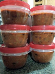 Instant Pot Chili ready for the freezer