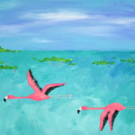 Flying Flamingo Acrylic Painting