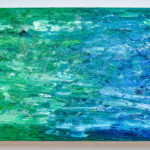 Abstract Acrylic Painting Blue Green Glitter