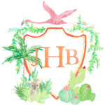 JBH Monogram Crest with Flamingo, Plants, Yorkie