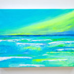 Beach Acrylic Painting Green Sky