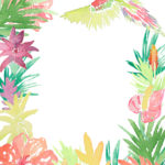 Watercolor Tropical Flower and Parrot Broader