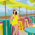 Florida Beach Colorful Tropical Restaurant Illustration