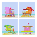 Miami Beach Florida Lifeguard Tower Illustration