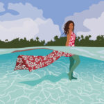 Hawaiian Dress Underwater Digital Portrait