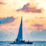 Turks & Caicos Sailboat at Sunset Illustration