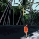 Hawaiian Black Sand Beach Digital Portrait Illustration