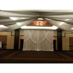 ceiling drape white special wedding event chicago backdrop