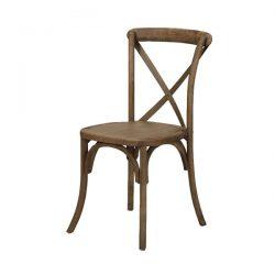 French country farm xback x-back walnut brown chair rental