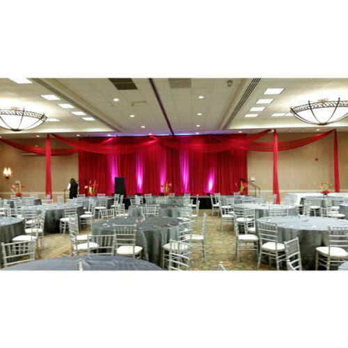 red ceiling drape special wedding event chicago
