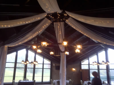 lighted hung ceiling fabric drape rentals Chicago lighting special wedding events