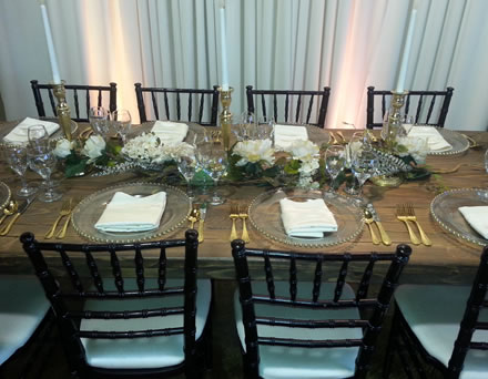 setting French country farm walnut brown table rental