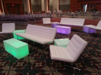 white lit acrylic end tables rental