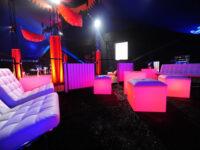 white lit lounge acrylic end tables rental