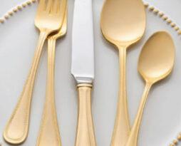 walco gold beaded flatware rental