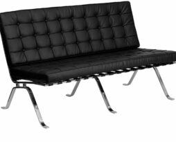 black leather barcelona armless sofa back lounge furniture