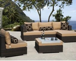 outdoor espresso brown rattan wicker furniture rental
